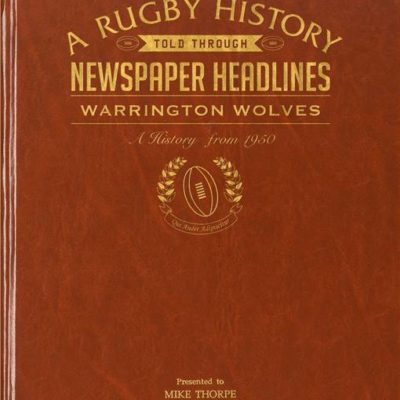 warrington rugby newspaper book brown leatherette colour pages