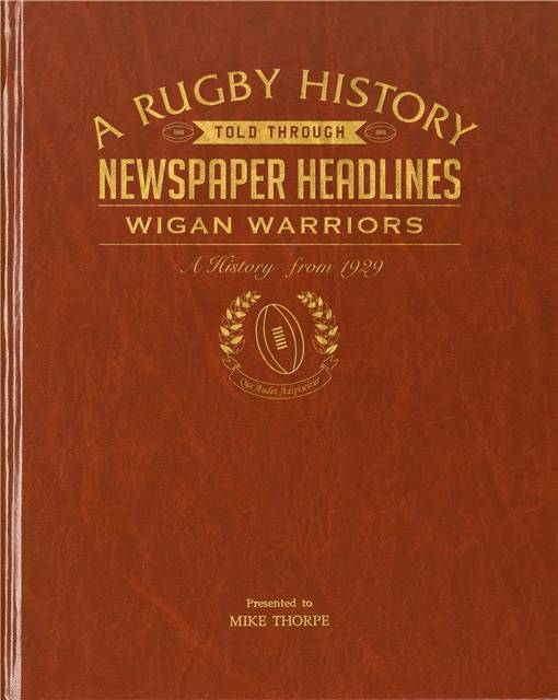 wigan warriors rugby newspaper book brown leatherette colour pages