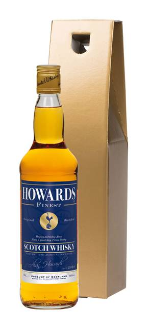 personalised spurs blended whisky blue label in a gold gift box