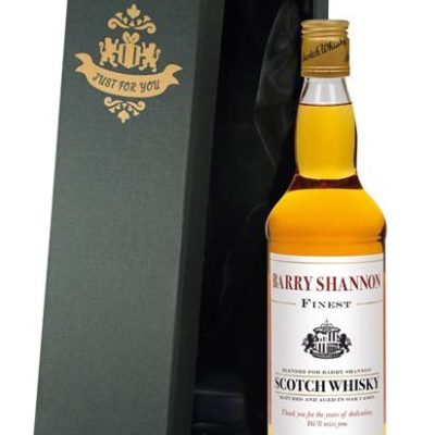 personalised blended whisky sunderland corporate message in a silk lined giftbox