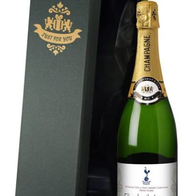 personalised champagne spurs gold swirls label in a silk lined gift box