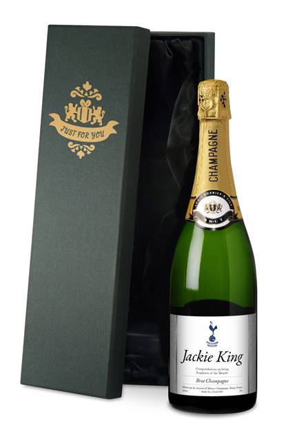 personalised champagne spurs silver swirls label in a silk lined gift box