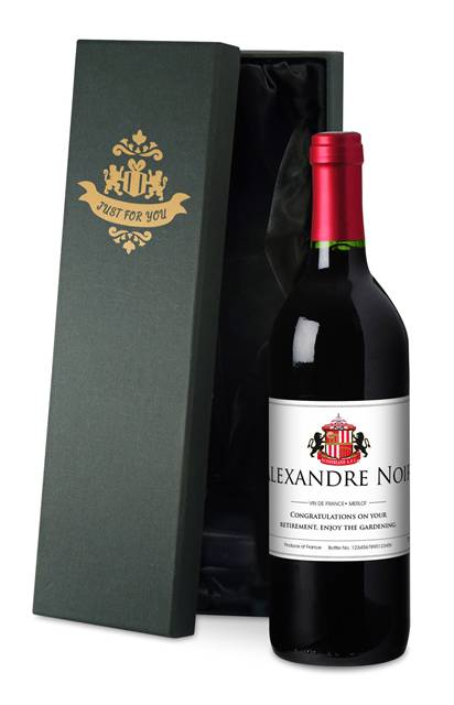 personalised french ac sunderland corporate red wine classic in a silk lined giftbox