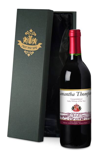 personalised french ac sunderland corporate red wine vineyard in a silk lined giftbox