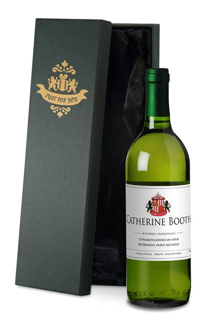 personalised french ac sunderland corporate white wine classic in a silk lined giftbox