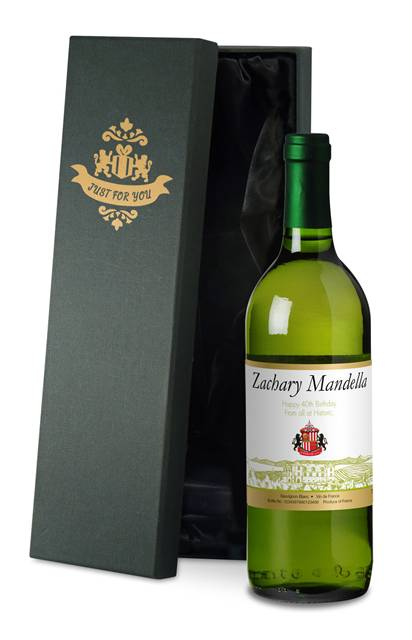 personalised french ac sunderland corporate white wine vineyard in a silk lined giftbox