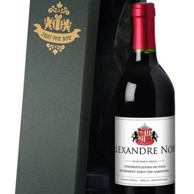 personalised french vdp sunderland corporate red wine classic in a silk lined giftbox