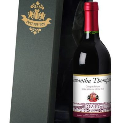 personalised french vdp sunderland corporate red wine vineyard in a silk lined giftbox