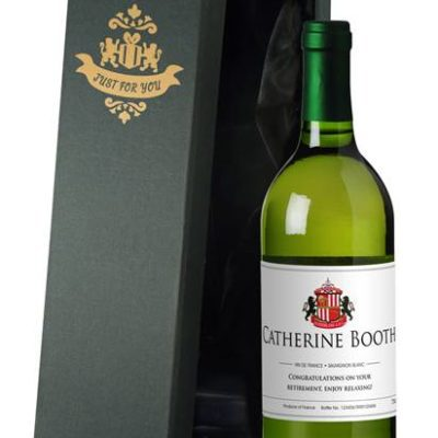 personalised french vdp sunderland corporate white wine classic in a silk lined giftbox