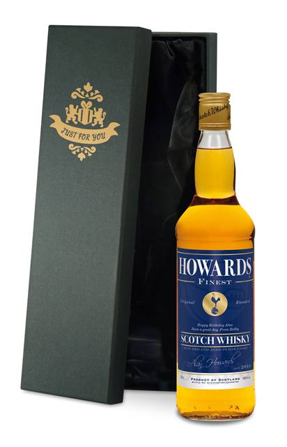 personalised spurs blended whisky blue label in a premium silk lined box
