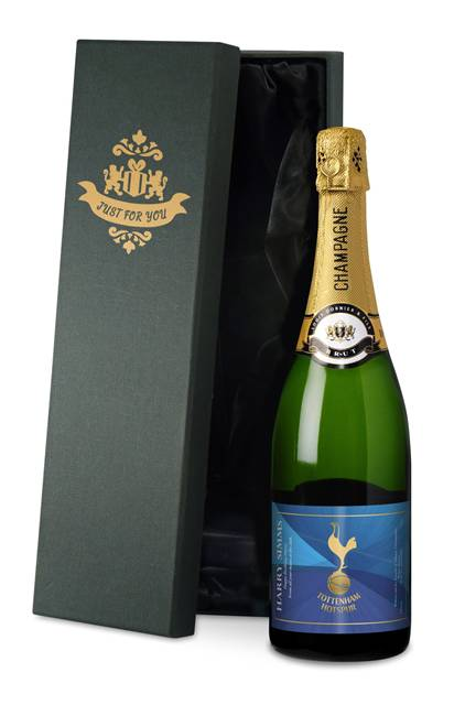 personalised spurs blue champagne label in a silk lined gift box