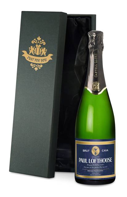 personalised spurs cava blue label in a silk lined gift box
