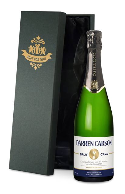 personalised spurs cava stripe label in a silk lined gift box