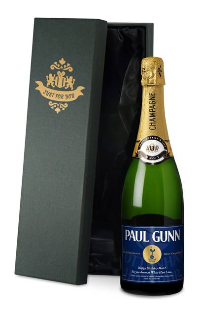 personalised spurs champagne vintage label in a silk lined gift box