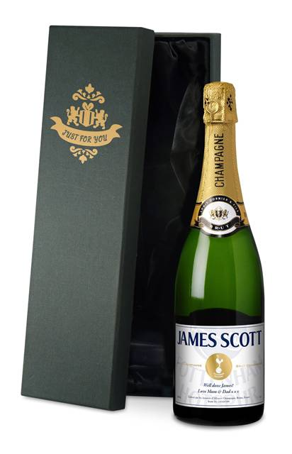 personalised spurs champagne white label in a silk lined gift box