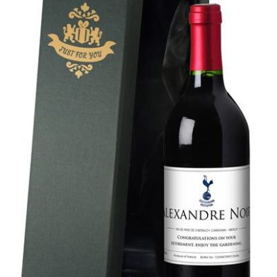 personalised spurs french ac red wine classic label in a silk lined box