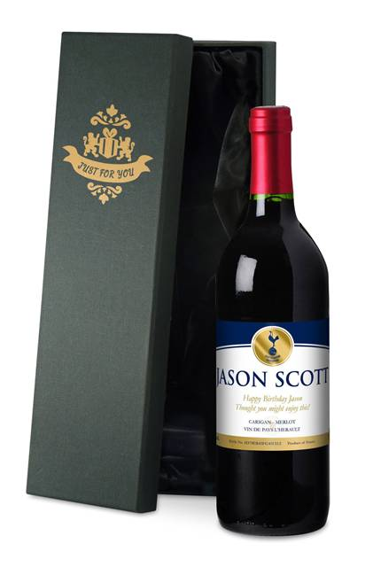 personalised spurs french ac red wine gold label in a silk lined box
