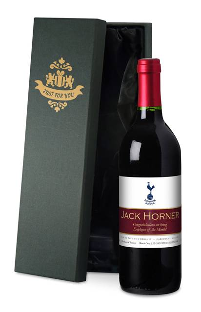 personalised spurs french ac red wine ribbon design label in a silk box