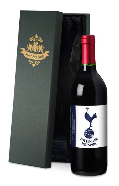 personalised spurs french ac red wine simply label in a silk lined box