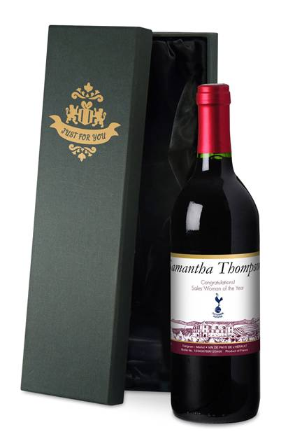 personalised spurs french ac red wine vineyard label in a silk lined box