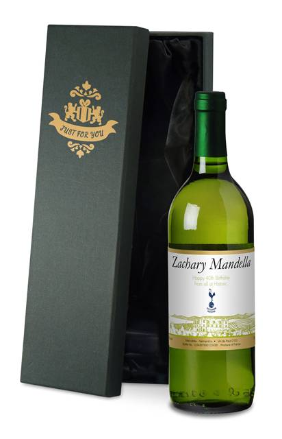 personalised spurs french ac white wine vineyard in a silk lined box