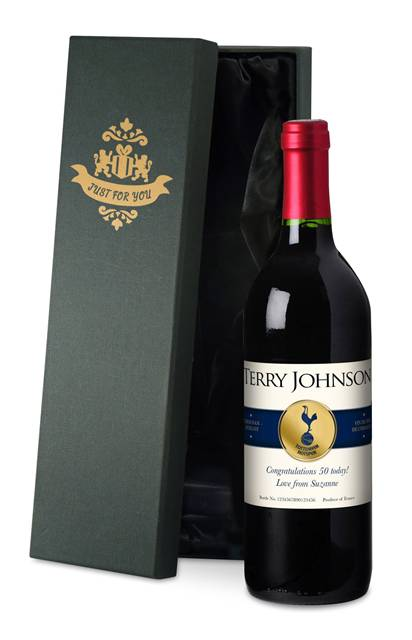 personalised spurs french vdp red wine blue band label in a silk lined box