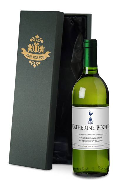 personalised spurs french vdp white wine classic in a silk lined box