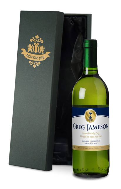 personalised spurs french vdp white wine gold in a silk lined box
