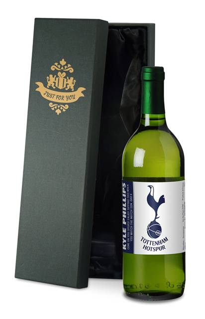 personalised spurs french vdp white wine simply in a silk lined box