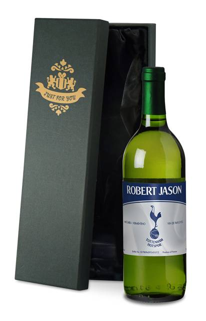 personalised spurs french vdp white wine vintage in a silk lined box