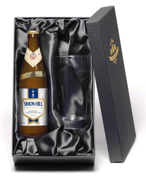 personalised spurs modern wheat beer with pint glass
