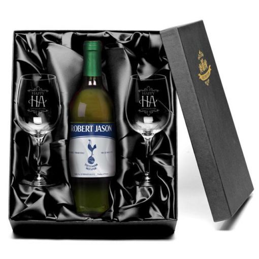personalised spurs vintage french ac white wine with set of happy anniversary wine glasses