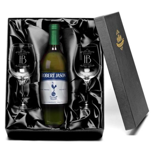 personalised spurs vintage french ac white wine with set of happy birthday wine glasses