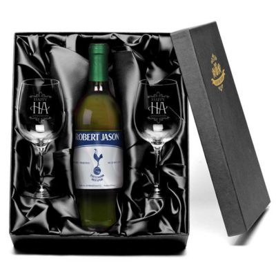 personalised spurs vintage french vdp white wine with set of happy anniversary wine glasses