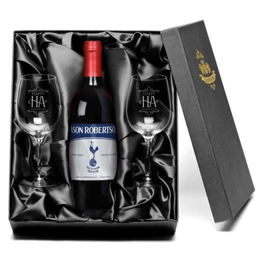 personalised spurs vintage vdp red wine with set of happy anniversary wine glasses