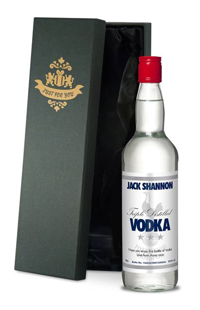 personalised spurs vodka stars label in a premium silk lined box