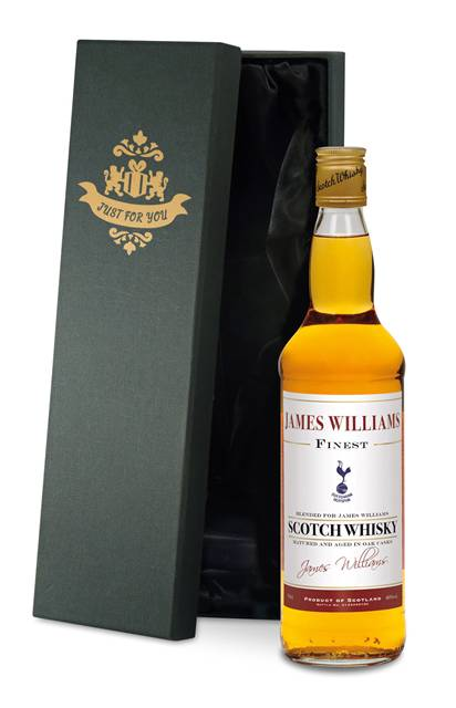 personalised spurs whisky blend historic style label in a silk lined box