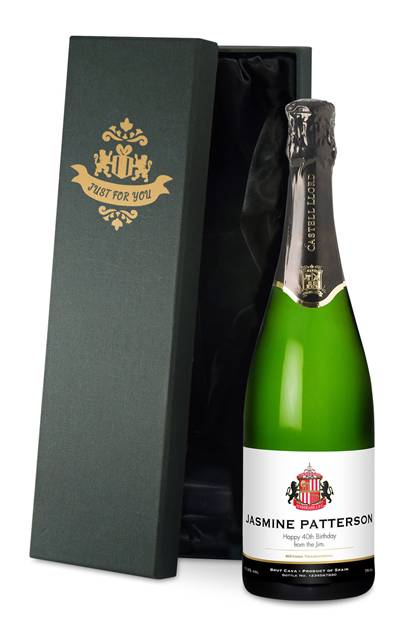 personalised sunderland corporate cava classic in a silk lined giftbox