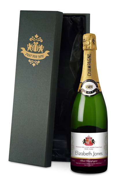 personalised sunderland corporate champagne gold swirls in a silk lined giftbox