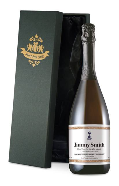 personalised spurs corporate prosecco with framed label in a silk lined box