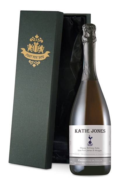 personalised spurs corporate prosecco with traditional label in a silk lined box
