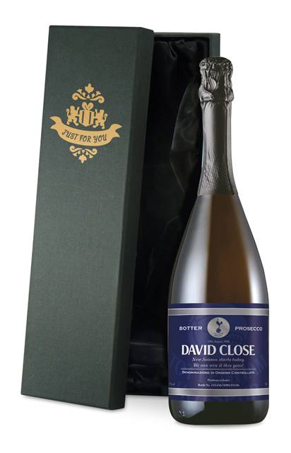 personalised spurs prosecco with blue label in a silk lined box