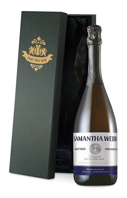 personalised spurs prosecco with blue stripe label in a silk lined box