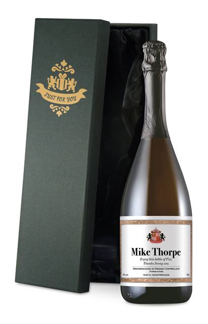 personalised sunderland corporate prosecco framed in a silk lined giftbox