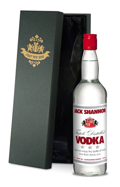 personalised sunderland white label vodka in a silk lined box