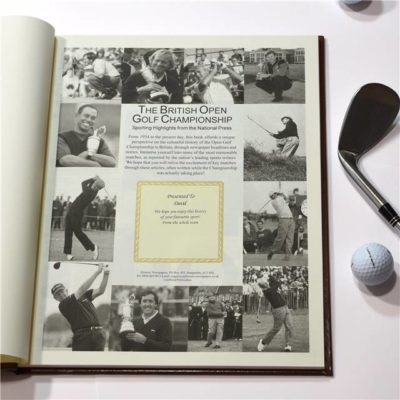 the open golf newspaper book brown leatherette