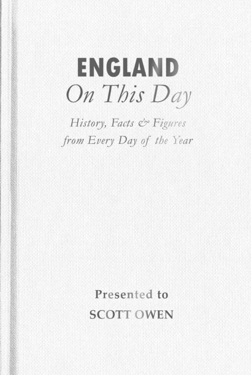 England On This Day Cover flat 1